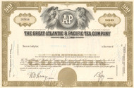 Great Atlantic & Pacific Tea Company stock certificate 1970's - olive color