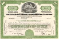 St Louis - San Francisco Railway Company (Frisco) stock certificate 1960's green