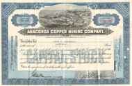Anaconda Copper Mining Company stock certificate 1950's - blue