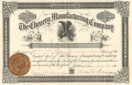 Chenery Manufacturing Company stock certificate 1892 (Portland Maine)