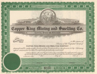 Copper King Mining and Smelting Company stock  certificate circa 1910