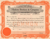 Haskin Brothers and Company stock certificate circa 1921 (soap and consumer products)