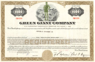 Green Giant Company bond certificate 1970's - $1000 olive