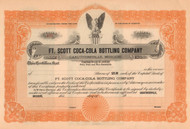 Ft Scott Coca-Cola Bottling Company stock certificate circa 1922