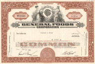 General Foods Corporation stock certificate 1960's - brown