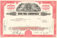 Sun Oil Company stock certificate 1970's - red