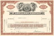P. Lorillard Company stock certificate 1950s (cigarette maker) - brown