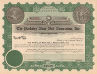 Parksley Base Ball Association stock  certificate circa 1922