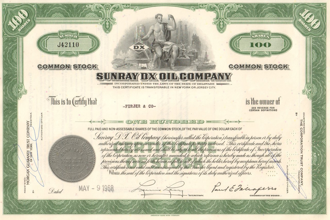 Sunray Dx Oil Company Stock Certificate 1960s Gas Stations Auto