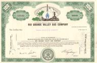 Rio Grande Valley Gas Company stock certificate circa 1960's - green