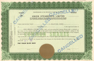 Union Steamships Limited stock certificate 1958 (British Columbia, Canada)