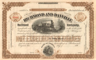Richmond and Danville Railroad Company  stock certificate circa 1880's - brown