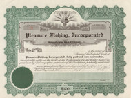 Pleasure Fishing Incorporated  stock certificate circa 1950  (Potomac River gambling)