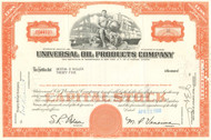 Universal Oil Products stock certificate 1970's - orange