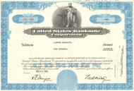 United States Banknote Corp stock certificate 1970's (prints stock certificates) - blue