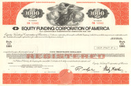 Equity Funding bond certificate 1970's (famous accounting scandal - Stanley Goldblum) - orange