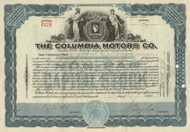 Columbia Motors Company stock certificate 1923