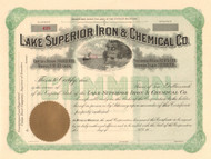 Lake Superior, Iron and Chemical Company stock certificate circa 1906