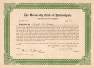 The University Club of Philadelphia certificate of interest 1937