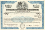Columbus and Southern Ohio Electric Company bond certificate 1970's