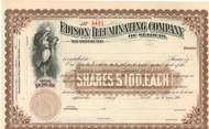 Edison Illuminating Company Battery Company stock certificate 1890's - brown