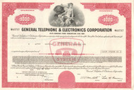 General Telephone & Electronics Corporation $1,000 bond certificate 1970's - red