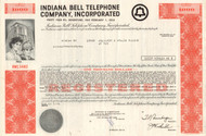 Indiana Bell Telephone Company bond certificate 1970's - red $1000