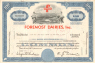 Foremost Dairies Inc.stock certificate 1960's (now part of McKesson)