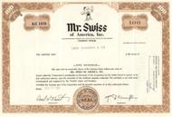 Mr Swiss of America stock certificate 1970 brown