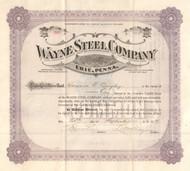 Wayne Steel Company stock certificate 1919 (Erie PA)