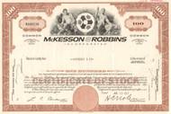 McKesson-Robbins Inc. stock certificate 1960's  - brown