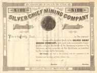 Silver Chief Mining Company stock certificate 1880's