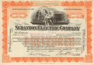 Scranton Electric Company stock certificate 1920's