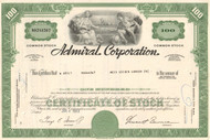 Admiral Corporation stock certificate 1969-1971 green