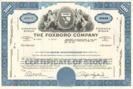 Foxboro Company stock certificate 1960's and 1970's  - blue