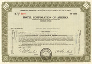 Hotel Corporation of America temporary stock certificate