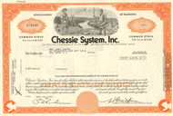 Chessie System Inc. stock certificate 1970's (now part of CSX) - light orange