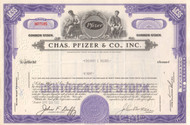 Chas. Pfizer & Co. stock certificate 1960 - purple