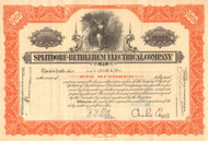 Splitdorf-Bethlehem Electrical Co.stock certificate - Charles Edison as president 1930