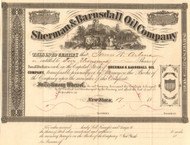 Sherman and Barnsdall Oil Company  stock certificate circa 1865