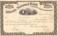 Atlantic National Bank stock certificate 1932 (Boston, Mass)