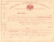 Iowa Homestead Company stock certificate circa 1864