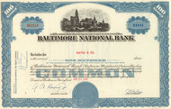 Baltimore National Bank stock certificate 1960's - blue