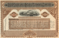 West Shore and Ontario Terminal Company  stock certificate circa 1883 (New Jersey)