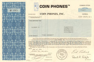 Coin Phones Inc. stock certificate 1987