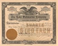 The Lake Submarine Company stock certificate circa 1895