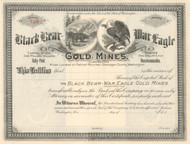 Black Bear - War Eagle Gold Mines stock certificate circa 1899 (Washington)