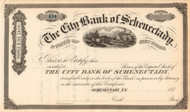 City Bank of Schenectady stock certificate (New York)  circa 1877