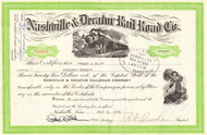Nashville and Decatur Rail Road Co stock certificate 1976 (Tennessee)