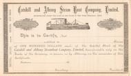 Catskill and Albany Steam Boat Company certificate circa 1885 (New York)